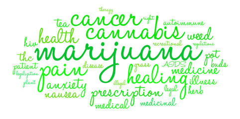 Marijuana Word Cloud on a white background.