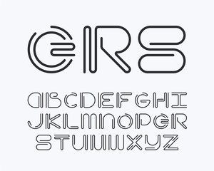 Curved line latin font
