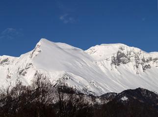 Fototapete - Snow covered Mnt. Krn, Slovenia