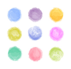 Abstract bright colored watercolor painted vector stylization stains set