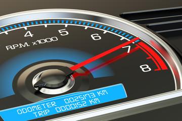 Tachometer closeup, 3D rendering