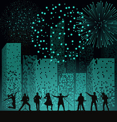Band show on night city background with fireshow at turquoise style. Festival concept. Set of silhouettes of musicians, singers and dancers. Vector illustration