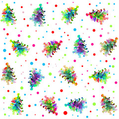 Christmas tree abstract pattern with confetti background.