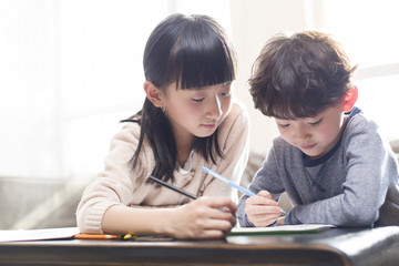 Happy siblings studying together at home