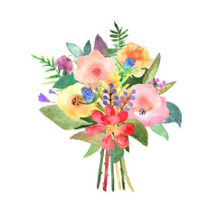Hand drawn watercolor bouquet on white background. Design for card