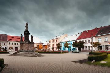 Doksy, Machuv kraj, Czech republic - october 29, 2016: detail of Namesti Republiky square in autumn