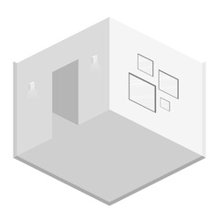 Isometric flat 3D abstract interior emply room.