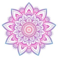 Outline flower mandala. decorative ornament. floral design element. flower vector mandala. hippie stuff. Purple gradient colors.