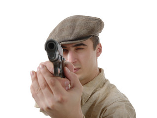 french gangster with a firearm, on white