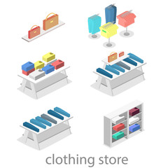 Isometric infographic flat 3D vector interior of clothing store inside.