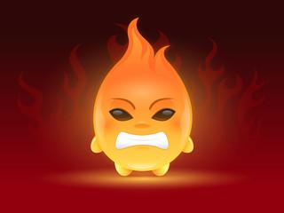 Cute little angry fireball cartoon mascot character illustration