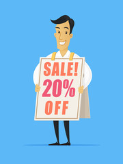 Happy businessman wearing sandwich advertising board with sale ad vector cartoon illustration