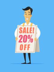 Happy businessman wearing sandwich advertising board with sale ad vector cartoon illustration