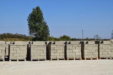 Cinder blocks, which lie in the bays. Storage cinder block