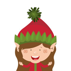 color image with half body christmas gnome girl vector illustration