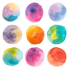 Set with vector isolated watercolor paint circles. Pink, blue, yellow, orange, red, green colors.