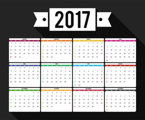 2017 Calender vector template simple colour