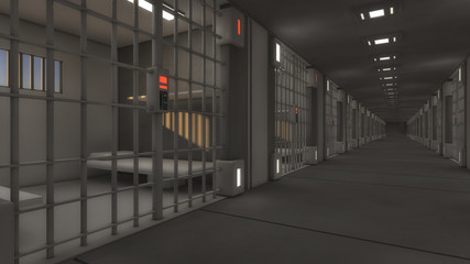 3d futuristic interior jail