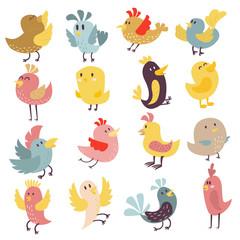 Cute birds vector set.