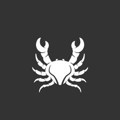 Crab logo on black background. Sea animal vector icon
