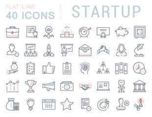 Set Vector Flat Line Icons Startup