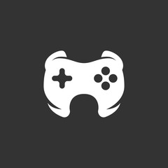 Game logo on black background. Vector icon
