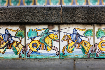 Details of the hand-decorated ceramic tiles of the 18th century Staircase of Santa Maria del Monte, main landmark of Caltagirone, Sicily. The town is famous for it's maiolica and terra-cotta wares.