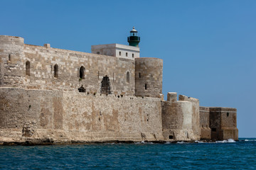 Maniace castle in Syracuse, Sicily, Italy, named after the Byzantine general George Maniakes who took the city in 1038, constructed between 1232 and 1240 by the Emperor Frederick II.