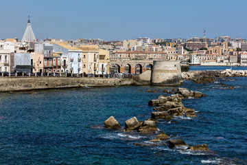 Waterfront of the Ortigia island in Sicily, Italy.