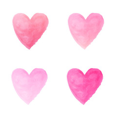 gradient pink heart watercolor paint isolated on white backgroun