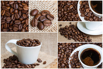 Collage of coffee motif images, decorative wallpaper; napkins, tissues, tiles, tableware mock up.