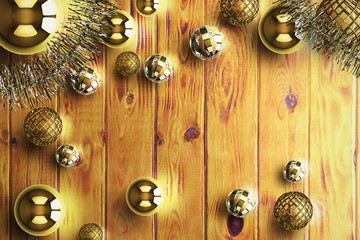 Christmas background decoration on plank wood 3d rendering