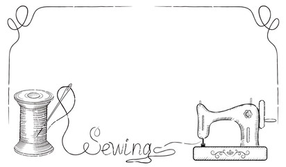 Retro frame for advertising signs of sewing workshop with hand d