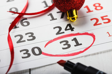 Important New Year's Eve date which is led round in a calendar.