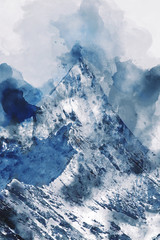 Mountain peak with snow, digital watercolor painting