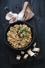 Porcini risotto in a cast-iron frying pan, top view, studio shot