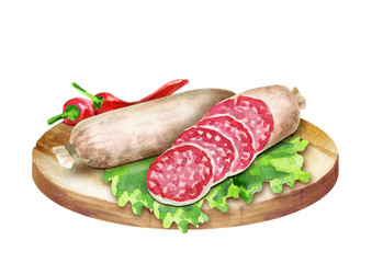 Cervelat sausage with spices on the platter. Watercolor