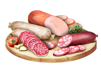 Composition with sausage. Watercolor