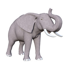 3D Rendering Elephant on White