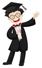 Man in graduation gown and cap