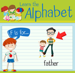Flashcard letter F is for father