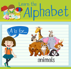 Flashcard letter A is for animals