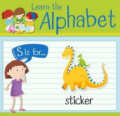 Flashcard letter S is for sticker