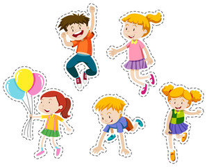Happy kids running and jumping set