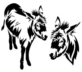 donkey black and white vector design