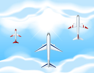 Three airplanes flying in the sky