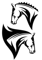 profile horse head black and white vector design