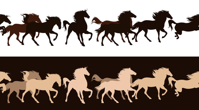 running horses herd - horizontally seamless vector border