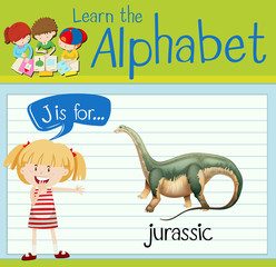Flashcard letter J is for jurassic