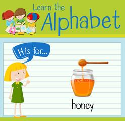 Flashcard letter H is for honey